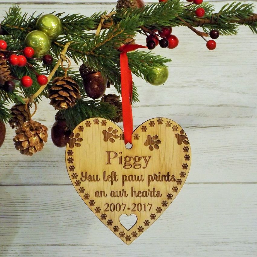 Pet Remembrance Paw Prints Memorial Personalised Christmas Heart Decoration